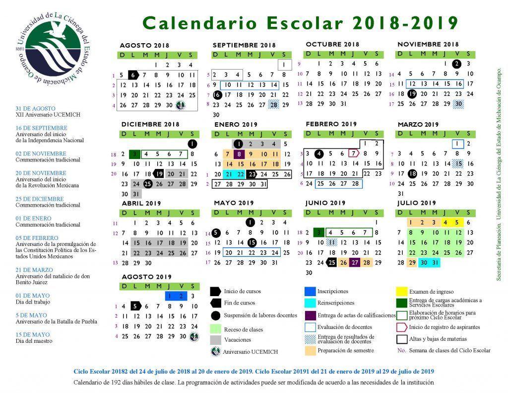 Calendario 2018 Belo Horizonte